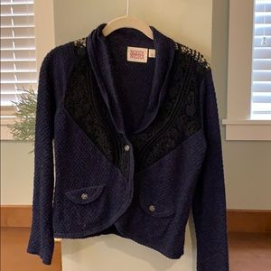 Anthropologie navy and black sweater